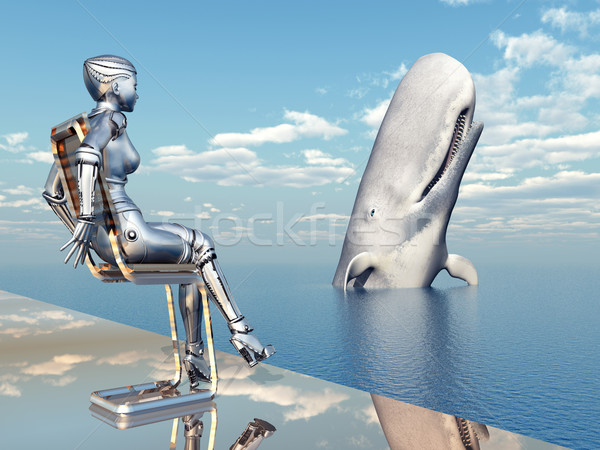 Homme robot spermatozoïdes baleine ordinateur généré Photo stock © MIRO3D