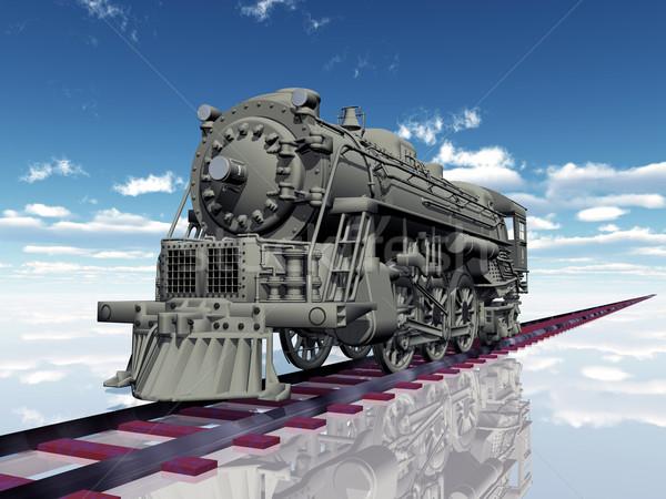 Oude stoomlocomotief computer gegenereerde 3d illustration technologie Stockfoto © MIRO3D