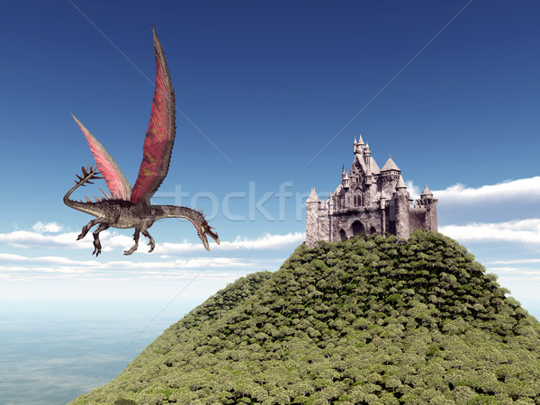 Uçan ejderha kale bilgisayar oluşturulan 3d illustration Stok fotoğraf © MIRO3D