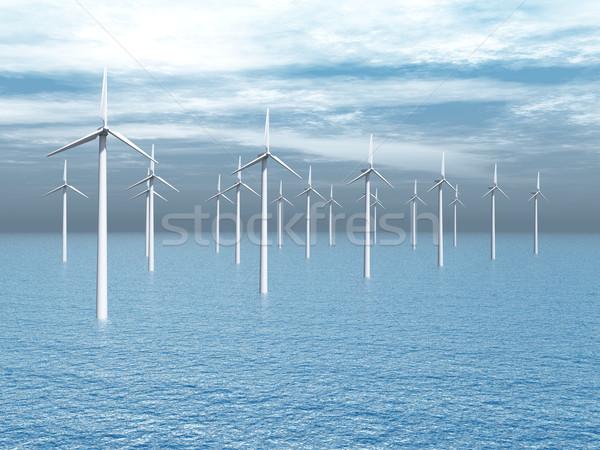 Offshore szélfarm számítógép generált 3d illusztráció szélturbinák Stock fotó © MIRO3D