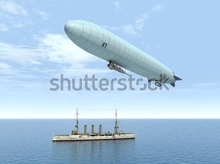 Ocean Liner and Airship Stock photo © MIRO3D