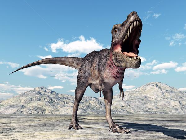 恐竜 コンピュータ 生成された 3次元の図 自然 砂漠 ストックフォト © MIRO3D