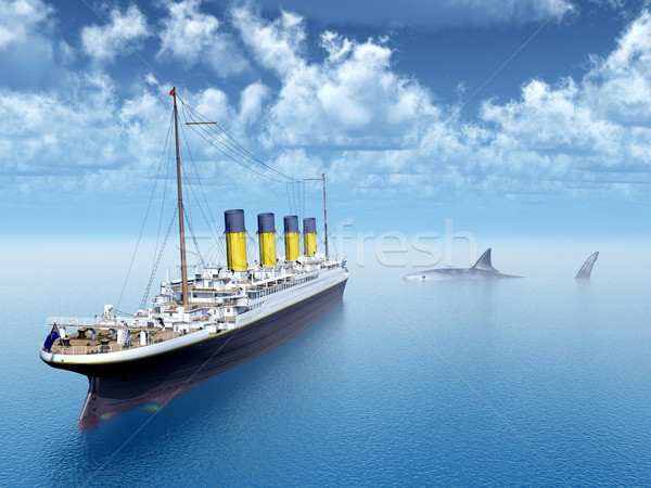 Ocean Liner and the Megalodon Shark Stock photo © MIRO3D