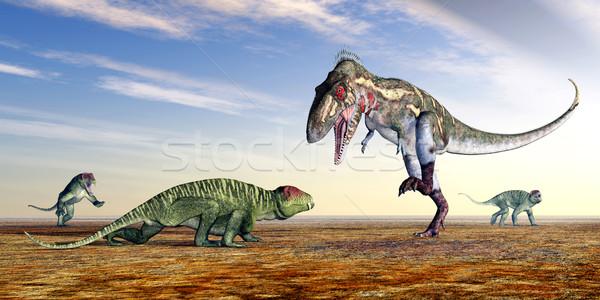 Doliosauriscus and Nanotyrannus Stock photo © MIRO3D