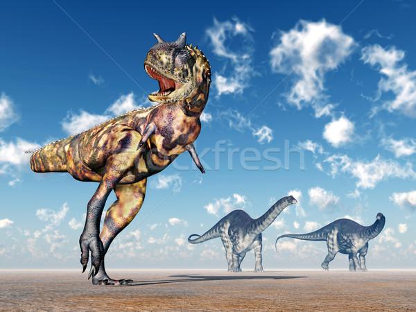Carnotaurus and Apatosaurus Stock photo © MIRO3D