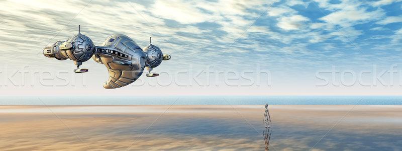 Statek kosmiczny obcych świat komputera wygenerowany Zdjęcia stock © MIRO3D
