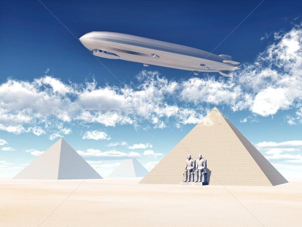 Egipcjanin piramidy komputera wygenerowany 3d ilustracji chmury Zdjęcia stock © MIRO3D
