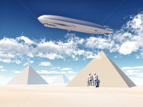 Egyptian Pyramids and Airship Stock photo © MIRO3D