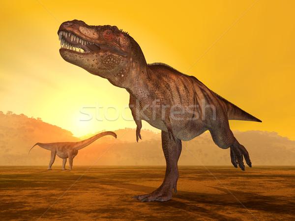 Tyrannosaurus Rex and Puertasaurus Stock photo © MIRO3D
