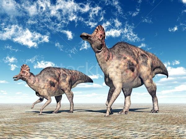 динозавр компьютер генерируется 3d иллюстрации природы Blue Sky Сток-фото © MIRO3D