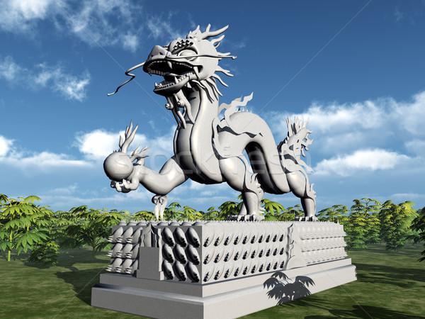 Китайский дракон статуя компьютер генерируется 3d иллюстрации облака Сток-фото © MIRO3D