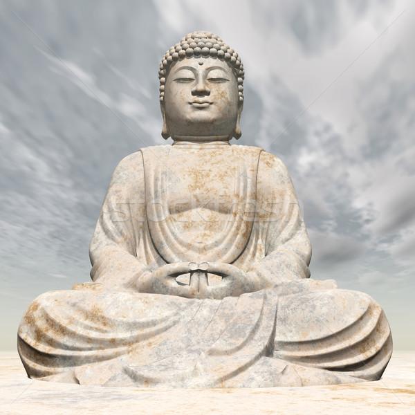 Standbeeld buddha computer gegenereerde 3d illustration kunst Stockfoto © MIRO3D