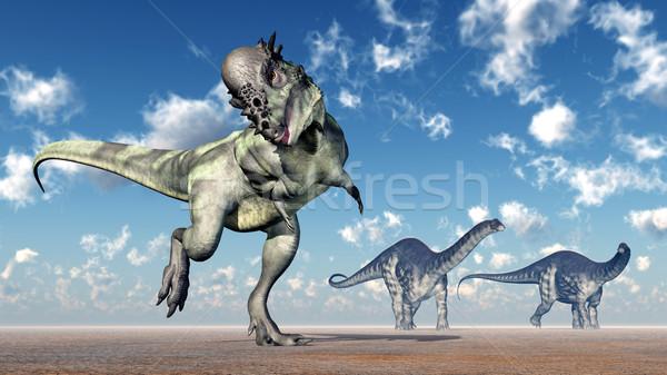 Pachycephalosaurus and Apatosaurus Stock photo © MIRO3D