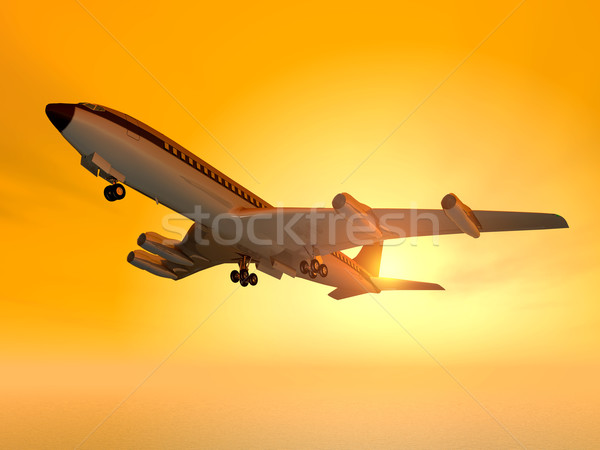 Számítógép generált 3d illusztráció horizont repülőgép repülés Stock fotó © MIRO3D