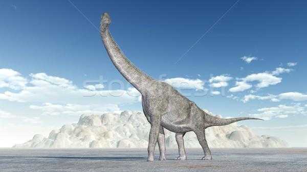 ストックフォト: 恐竜 · コンピュータ · 生成された · 3次元の図 · 山 · 動物
