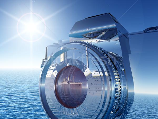 カメラ コンピュータ 生成された 3次元の図 太陽 海 ストックフォト © MIRO3D
