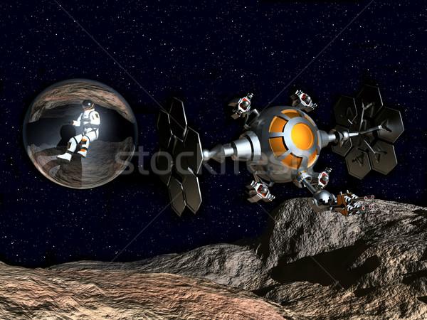 コンピュータ 生成された 3次元の図 宇宙飛行士 宇宙船 ストックフォト © MIRO3D