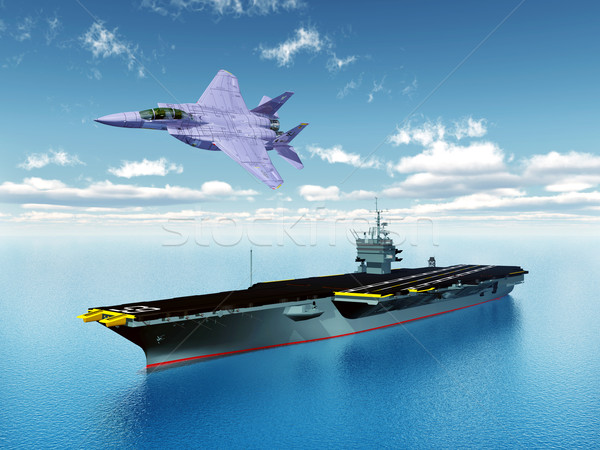 Aircraft Carrier and Fighter Plane Stock photo © MIRO3D