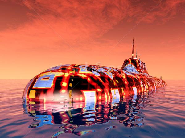 Futurystyczny podwodny komputera wygenerowany 3d ilustracji Zdjęcia stock © MIRO3D