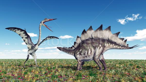 Quetzalcoatlus and Stegosaurus Stock photo © MIRO3D