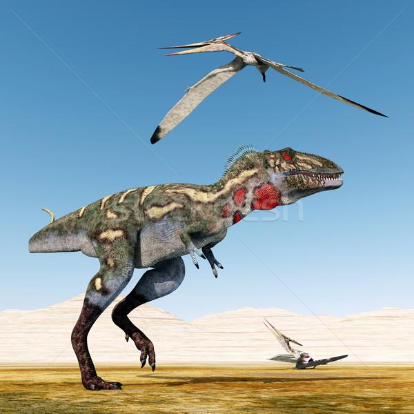 Nanotyrannus and Pteranodon Stock photo © MIRO3D