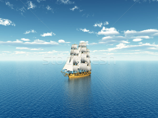 Vitorlás hajó távolság számítógép generált 3d illusztráció Stock fotó © MIRO3D