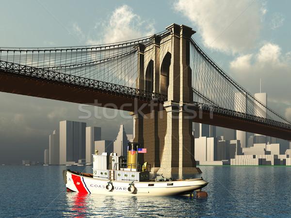 Brooklyn Bridge and Tug Boat Stock photo © MIRO3D