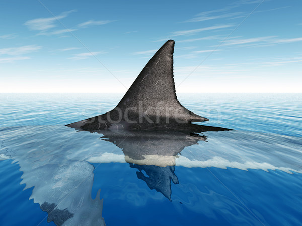 Stockfoto: Groot · witte · haai · vin · computer · gegenereerde