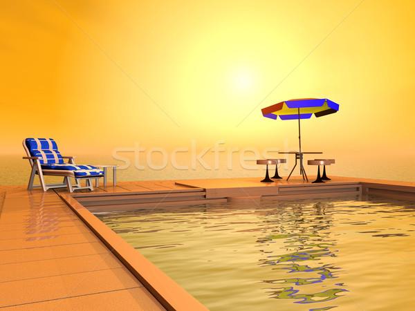 Yüzme havuzu bilgisayar oluşturulan 3d illustration güneş sağlık Stok fotoğraf © MIRO3D