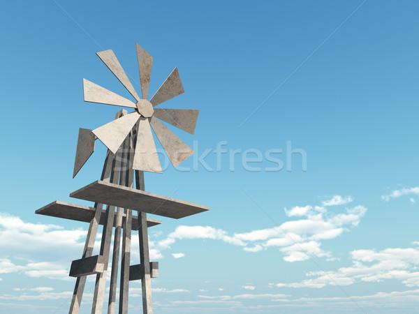 Occidental molino de viento ordenador generado 3d cielo azul Foto stock © MIRO3D