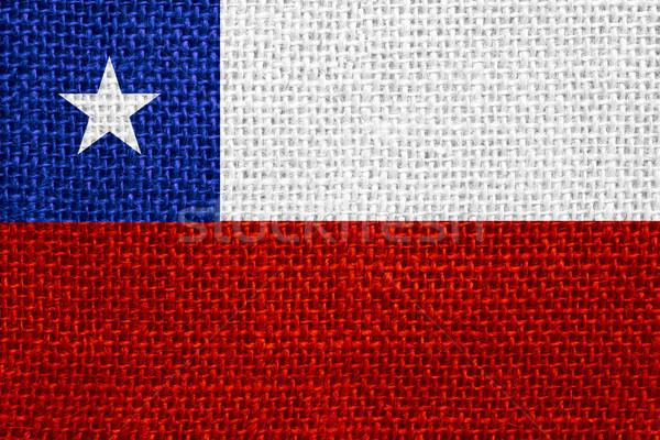 Zászló Chile szalag vászon háttér Stock fotó © MiroNovak
