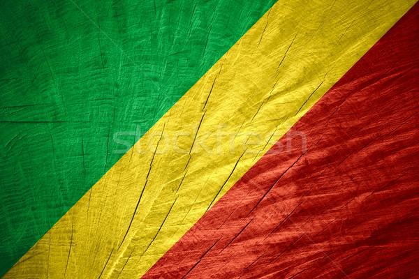 Vlag Congo banner houten textuur Stockfoto © MiroNovak