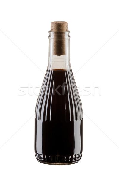 üveg szójaszósz mártás balzsamecet izolált fehér Stock fotó © MiroNovak