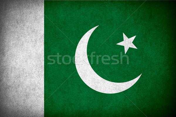 Zászló Pakisztán pakisztáni szalag papír durva Stock fotó © MiroNovak