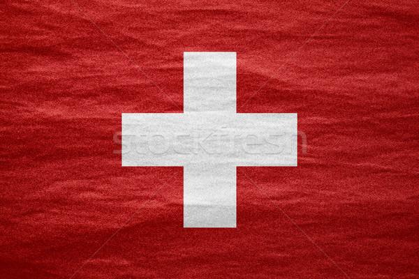Svizzera bandiera banner tela grezzo pattern Foto d'archivio © MiroNovak