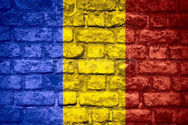 Zászló Romania román szalag tégla textúra Stock fotó © MiroNovak