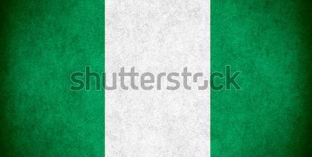 Zászló Nigéria szalag papír durva minta Stock fotó © MiroNovak