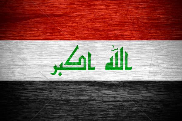 Irak vlag banner houten textuur Stockfoto © MiroNovak