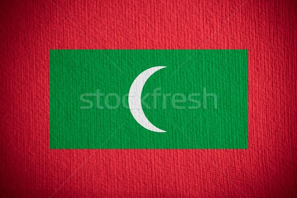Bayrak Maldivler afiş kâğıt doku Stok fotoğraf © MiroNovak