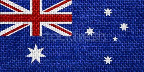 Zászló Ausztrália ausztrál szalag vászon textúra Stock fotó © MiroNovak