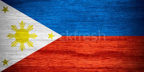 Fülöp-szigetek zászló szalag fából készült textúra Stock fotó © MiroNovak