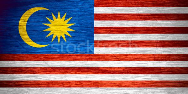 Bayrak Malezya afiş ahşap doku Stok fotoğraf © MiroNovak