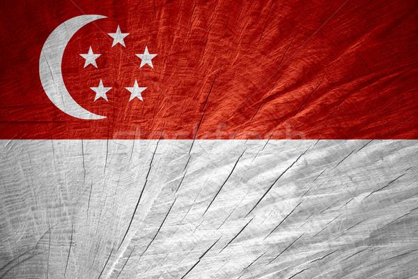 Zászló Szingapúr szalag fából készült textúra Stock fotó © MiroNovak