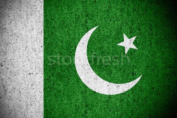 Zászló Pakisztán pakisztáni szalag durva minta Stock fotó © MiroNovak