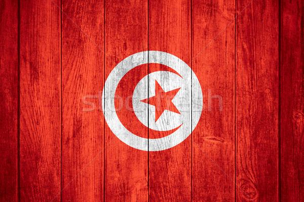 Bayrak Tunus beyaz kırmızı afiş ahşap Stok fotoğraf © MiroNovak