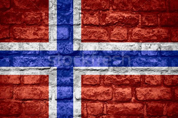 Bandeira Noruega norueguês bandeira tijolo textura Foto stock © MiroNovak