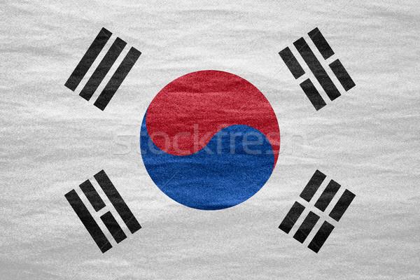 Bayrak Güney Kore güney afiş tuval doku Stok fotoğraf © MiroNovak