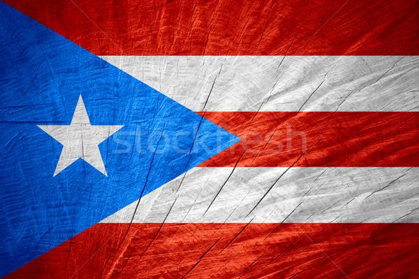 Vlag Puerto Rico banner houten textuur Stockfoto © MiroNovak