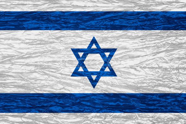 Flagge Israel Banner Leinwand Textur Stock foto © MiroNovak