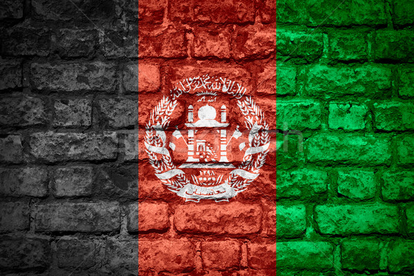 Zászló Afganisztán szalag tégla textúra Stock fotó © MiroNovak